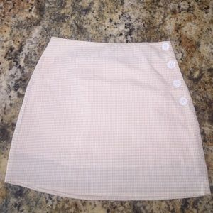 Urban Outfitters White and Tan Mini Pencil Skirt